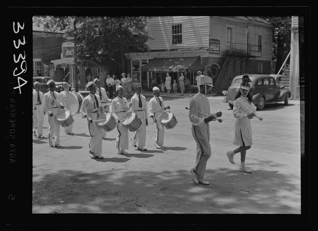 Charlotte Court House, Virginia. Central High School band every month or so marches up Main Street to give drills and a concert. Players must buy their own instruments and costumes and pay for their own lessons. Lessons are given during school hours
