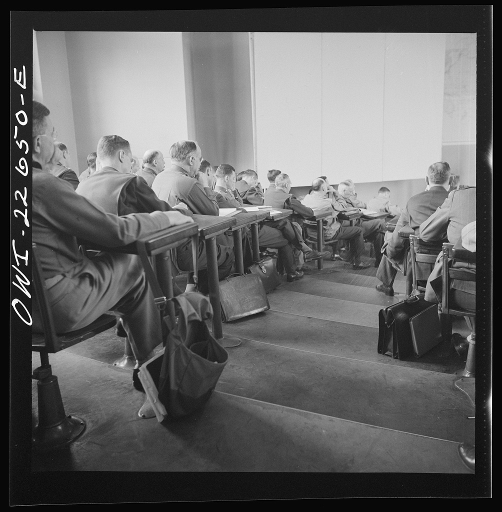 Charlottesville, Virginia. Officers attending a lecture in the School of Military Government at the University of Virginia