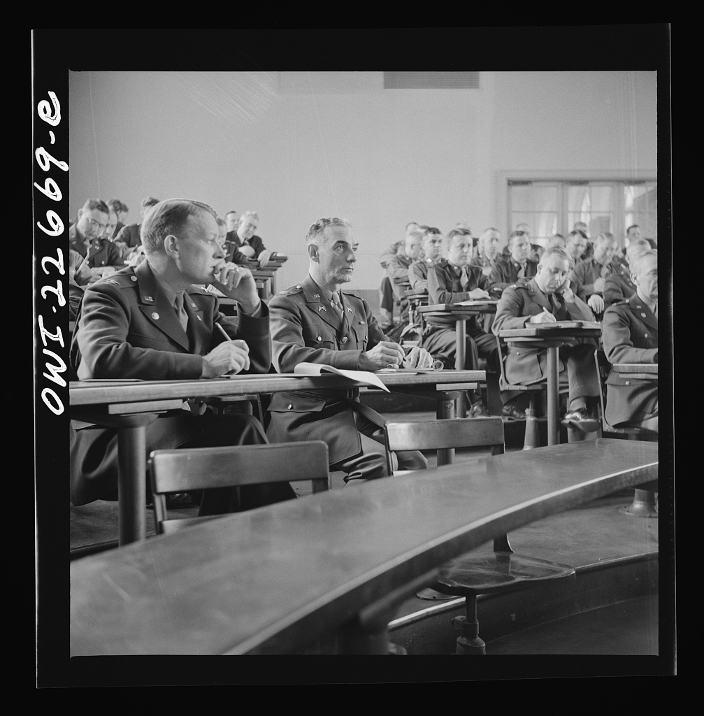 Charlottesville, Virginia. Officers listening to a lecture in the School of Military Government at the University of Virginia