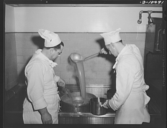 Chefs prepare soya bean soup, which had been dehydrated, then rehydrated, for luncheon, March 11, 1943, at the Hotel Statler, Washington, D.C., which marked the second anniversary of lend-lease