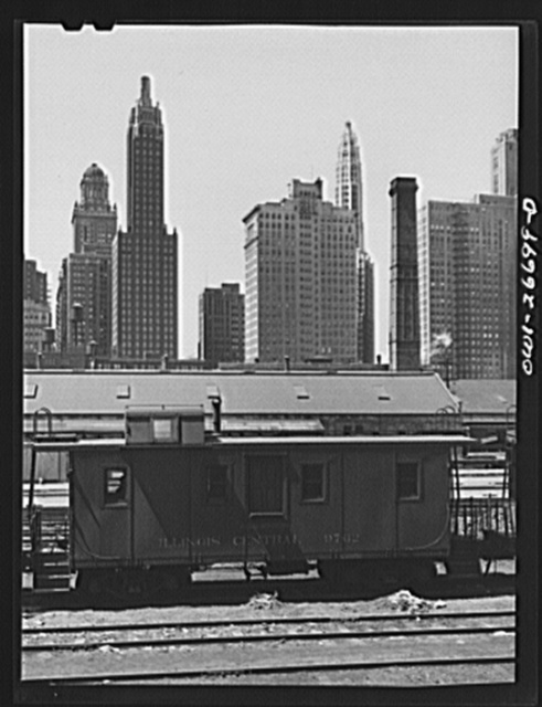 Chicago, Illinois. Caboose at the South Water Street freight terminal