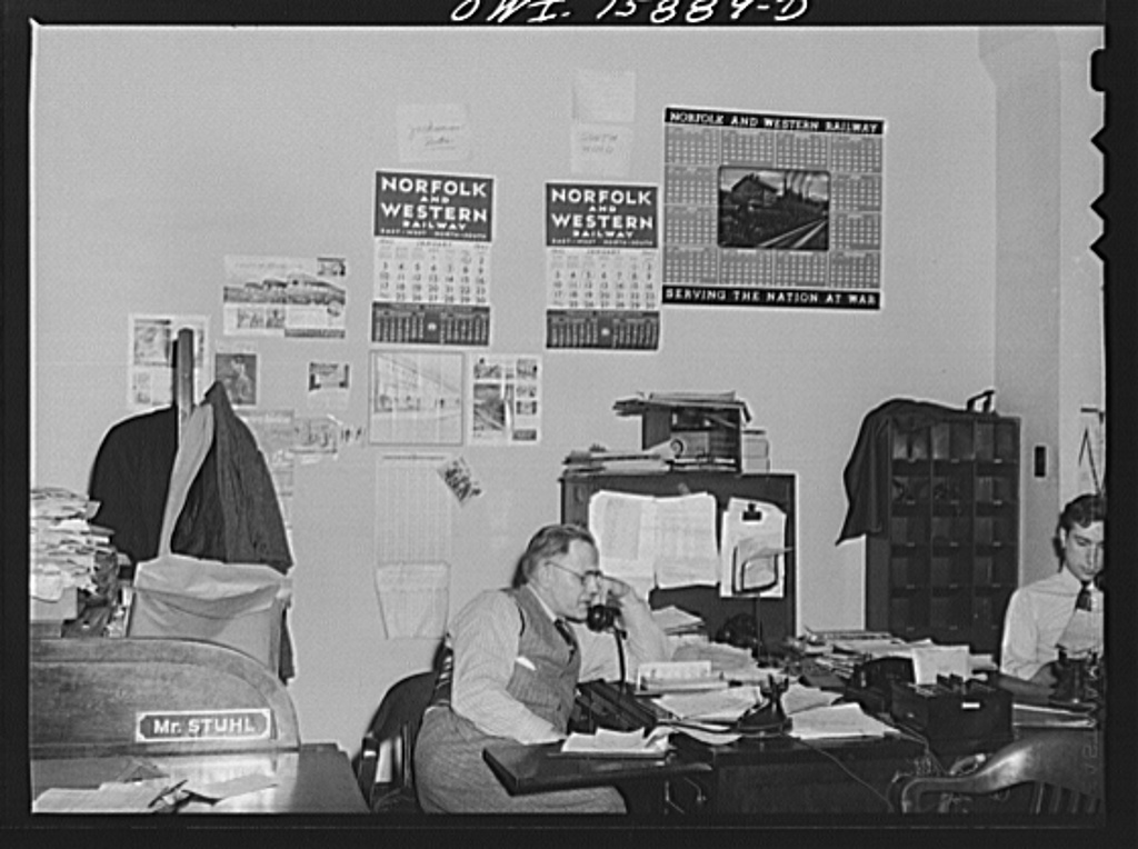 Chicago, Illinois. Mr. Stuhl, Chief of the Pennsylvania Railroad section of the reservation bureau of the Union Station. The bureau is used jointly by the Pennsylvania Railroad, Chicago, Burlington, and Quincy route, Chicago, Milwaukee, Saint Paul and Pacific Railroad and Alton Railroad