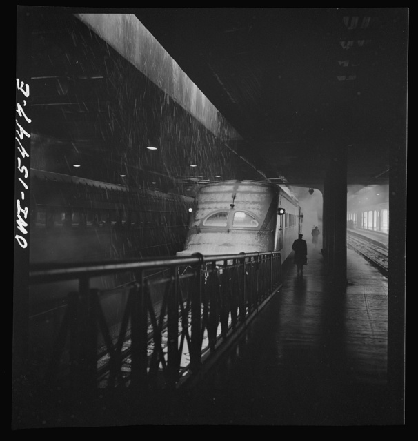 """Chicago, Illinois. One of the Chicago, Milwaukee, Saint Paul and Pacific Railroad """"Hiawatha"""" trains about to leave from Union Station"""