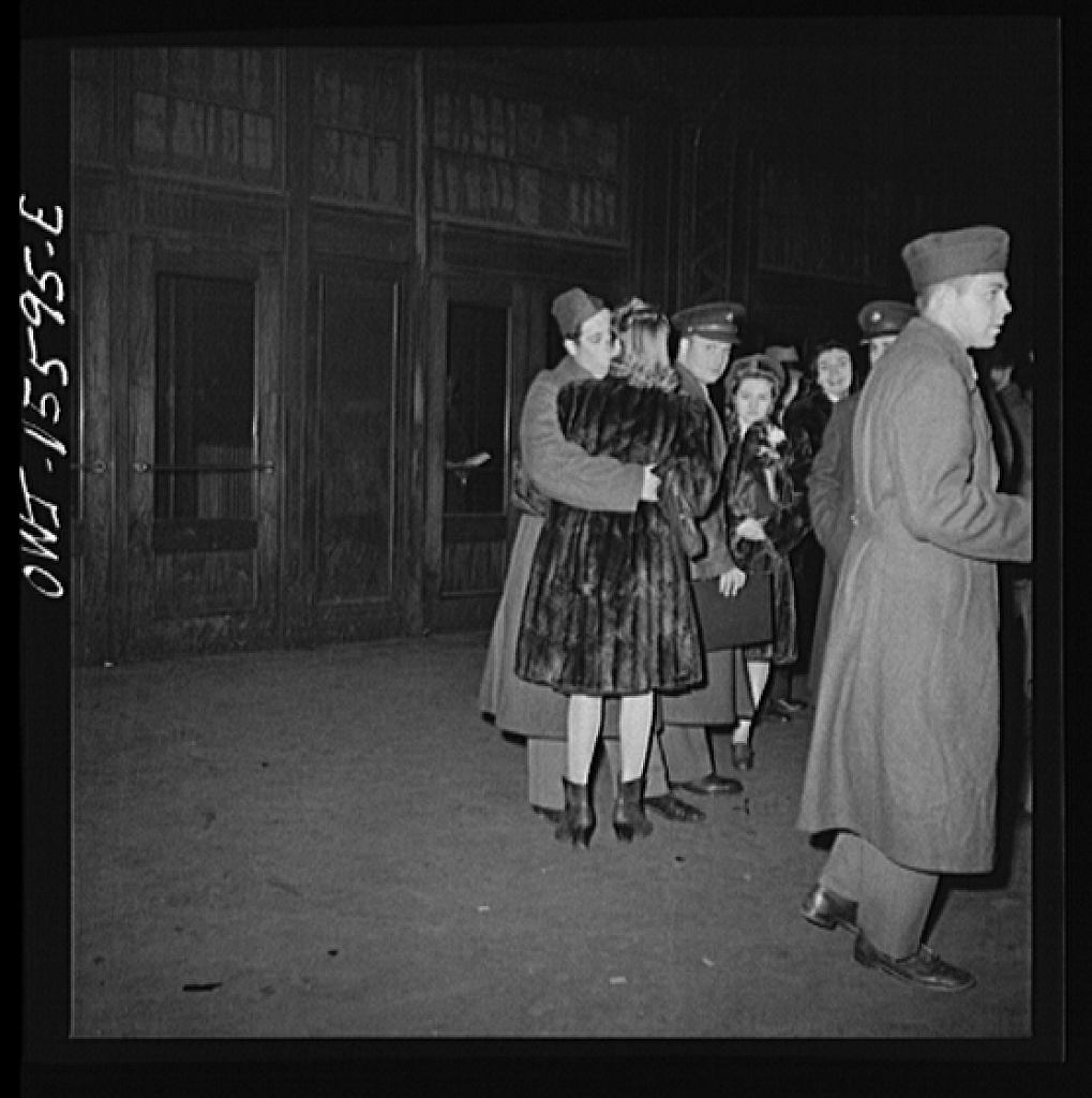 Chicago, Illinois. Soldier kissing his girlfriend goodbye at the Union Station
