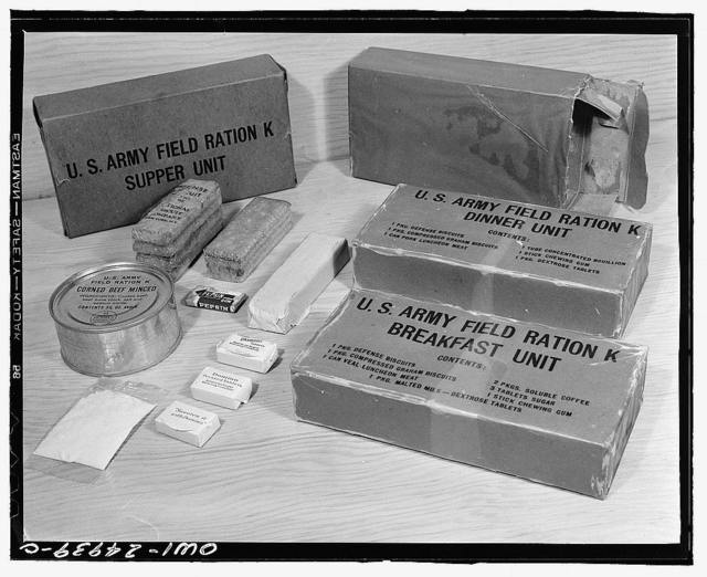 Chicago, Illinois. Subsistence research laboratory of the U.S. Army quartermaster depot. K ration is highly concentrated, and is used only in time of emergency and continuous combat when regular messing facilities are not available. Packed in three boxes for three meals, it weighs only 32.86 oz. and contains 3,726 calories. It is so packed that it will not be affected by temperatures up to 135-F or down to 20 below zero