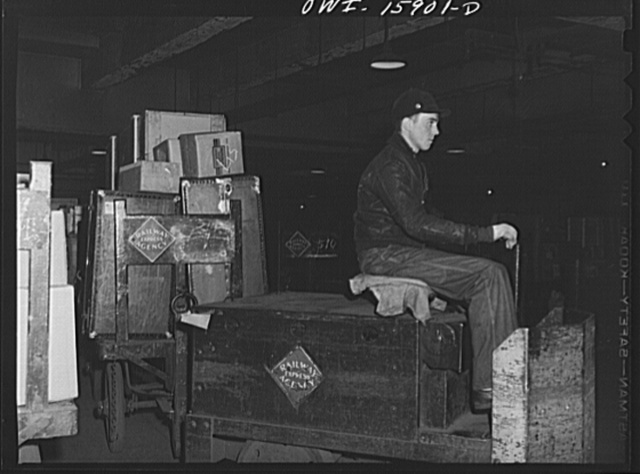 Chicago, Illinois. The tremendous traffic of mail, railway express and baggage is all handled in the Union Station's sub-cellars. There are over two miles of road for trucks and cabs beneath the station