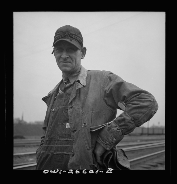 Cicero, Illinois. A switchman at the Clyde yard of the Chicago, Burlington and Quincy Railroad