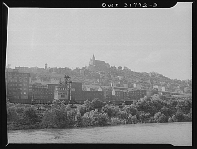 Cincinnati, Ohio. The skyline as seen from the towboat Ernest T. Weir on the Ohio River