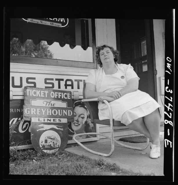 Cincinnati (vicinity), Ohio. A ticket agent at a small bus station
