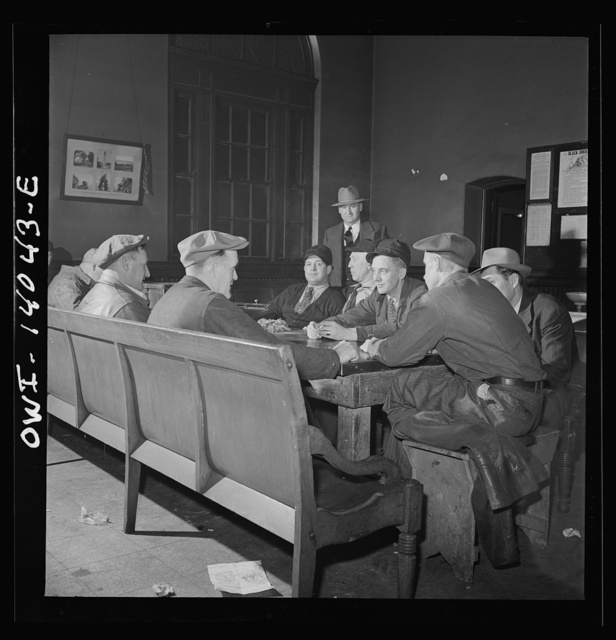 Clinton, Iowa. There is usually a game of cards in progress in the recreation room at the depot