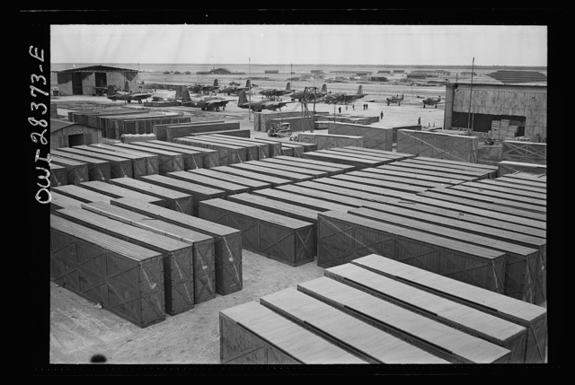 Crated fighter planes awaiting assembly at a delivery point of American warplanes to Russia somewhere in Iran