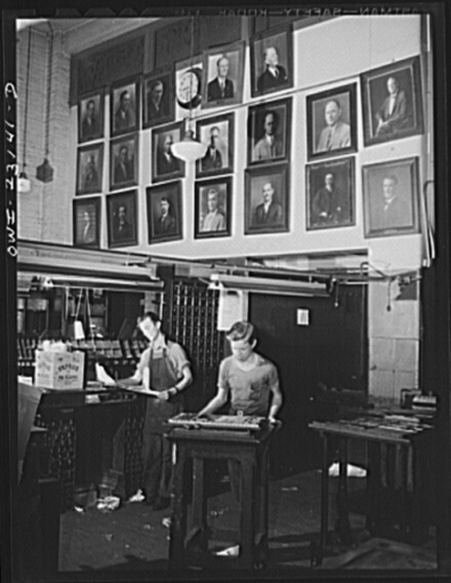 Dallas, Texas. Composing room at the Dallas Morning News. Pictures on the wall are of men who have worked in this room for twenty-five years
