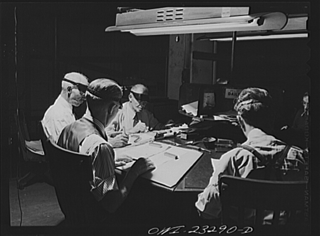 Dallas, Texas. Proofreading desk of the Dallas Morning News