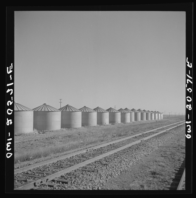 Dawn, Texas. Wheat storage bins along the Atchison, Topeka, and Santa Fe Railroad between Amarillo, Texas and Clovis, New Mexico