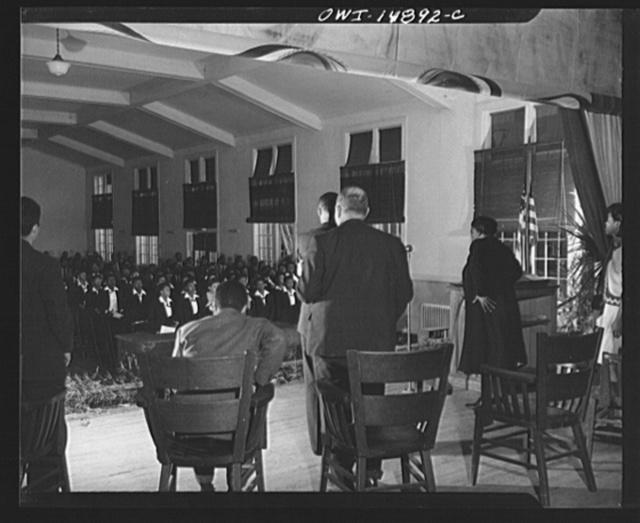 Daytona Beach, Florida. Bethune-Cookman College. Dr. Mary McLeod Bethune addressing the Sunday forum in White Hall