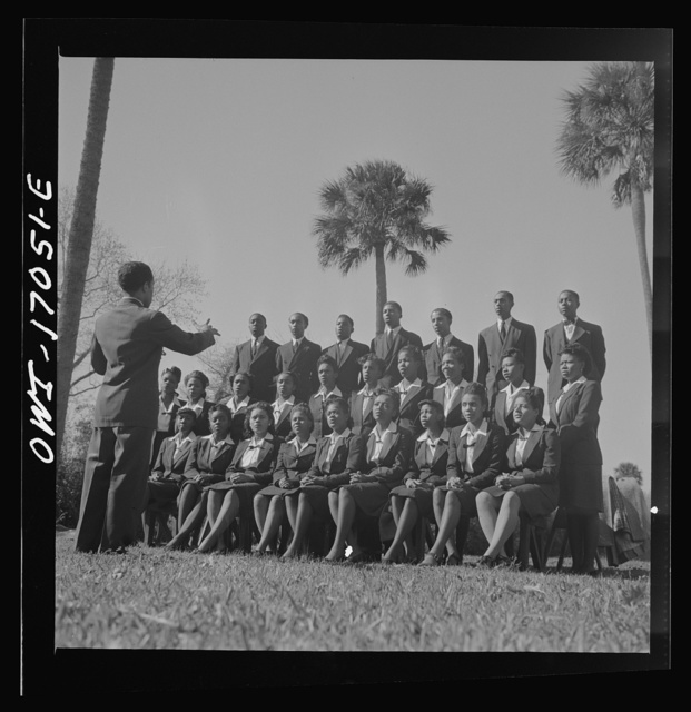 Daytona Beach, Florida. Bethune-Cookman College. Student choir singing on the campus