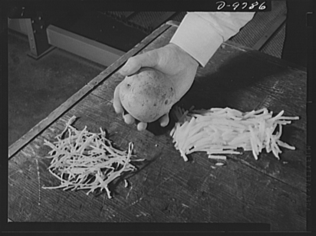 Dehydration. Potatoes. A comparison of the potato in three different forms--dehydrated, natural and sliced--clearly shows the value of dehydrated vegetables for wartime shipment. Dehydrated potato goals for the fiscal year of 1943-1944 have been set at 136 million pounds, which will be directed mainly to the armed forces and lend-lease