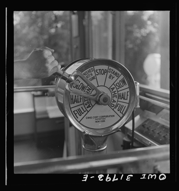 Detail of the controls in the pilot house of the towboat Ernest T. Weir going down the Ohio River to Cincinnati