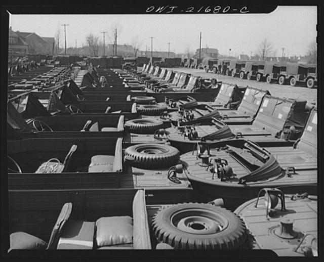 Detroit, Michigan. Amphibian jeeps awaiting truck transport