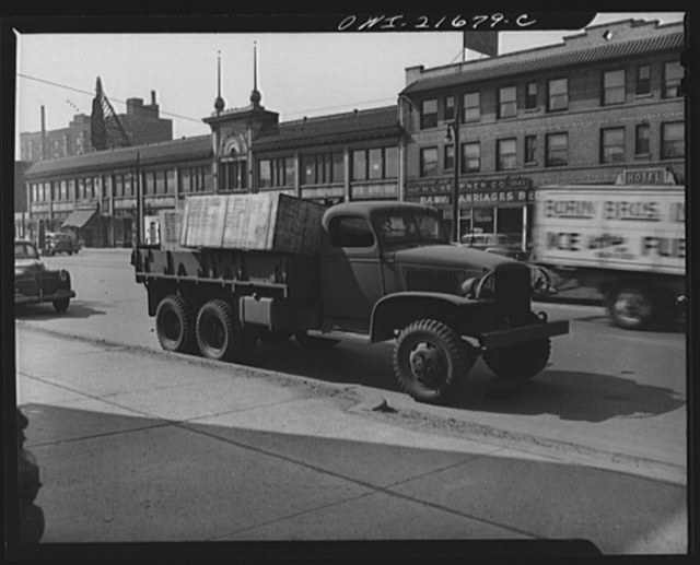 Detroit, Michigan. Army truck hauling boxed freight