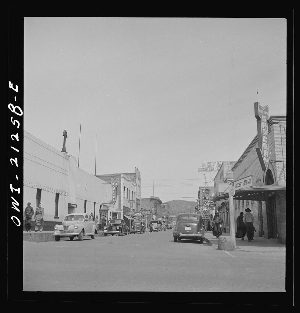 Flagstaff, Arizona. A street scene on the Atchison, Topeka, and Santa Fe Railroad between Winslow and Seligman, Arizona