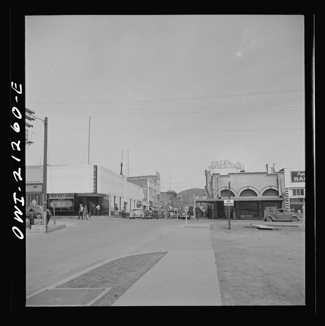 Flagstaff, Arizona. A street scene on the Atchison, Topeka, and Santa Fe Railroad between Winslow and Seligman, Arizona
