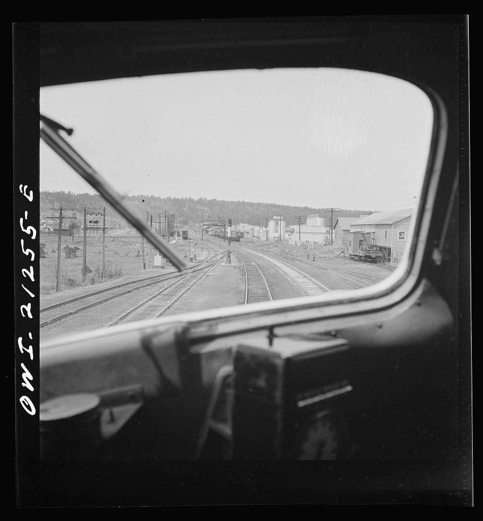 Flagstaff, Arizona. Entering the town along the Atchison, Topeka, and Santa Fe Railroad between Winslow and Seligman, Arizona