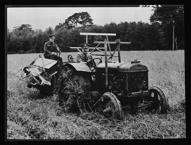 Food in England. Soldiers in Northern Ireland work with a tractor and harvester to cut a ten-acre field of oats. Many British soldiers, without previous farm experience have been released for temporary emergency farm work and have helped to ease the farm labor shortage