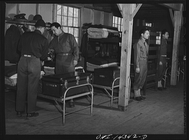 Fort Belvoir, Virginia. Barracks inspection. Private Dalto, Private Chirico, and Sergeant Tauro, of Company F, 31st Engineers