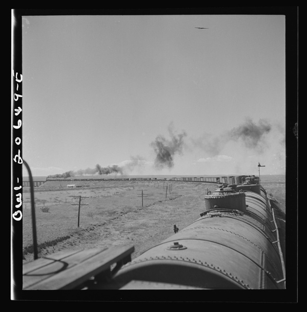 Fort Sumner, New Mexico. Train about to cross Pecos River along the Atchison, Topeka, and Santa Fe Railroad between Clovis and Vaughn, New Mexico