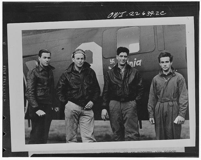Four American airmen who were among seven surviving the crash of their Flying Fortress in the North Sea on the return trip from a bombing missing over Hamm, Germany