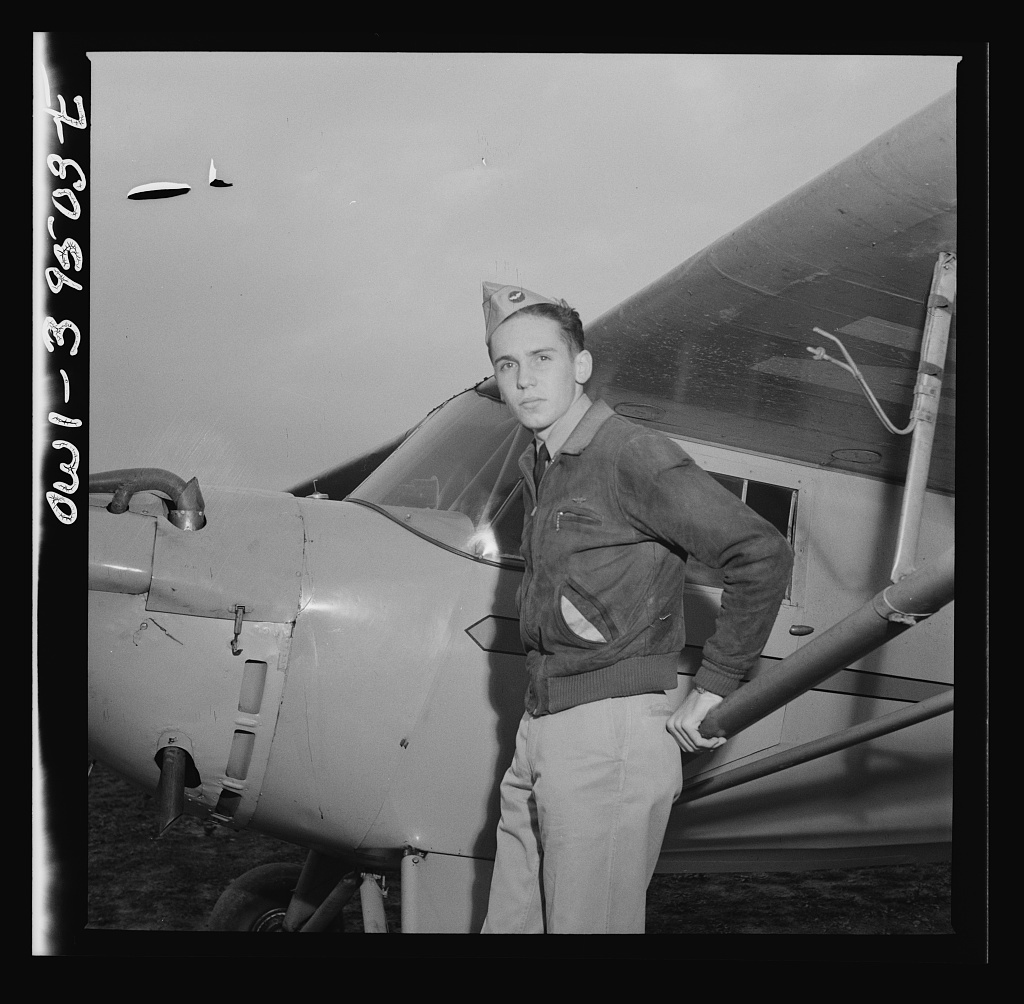 Frederick, Maryland. Walter Spangenberg, a student at Woodrow Wilson High School, in his Civil Air Patrol uniform at the Stevens Airport where he takes flying lessons