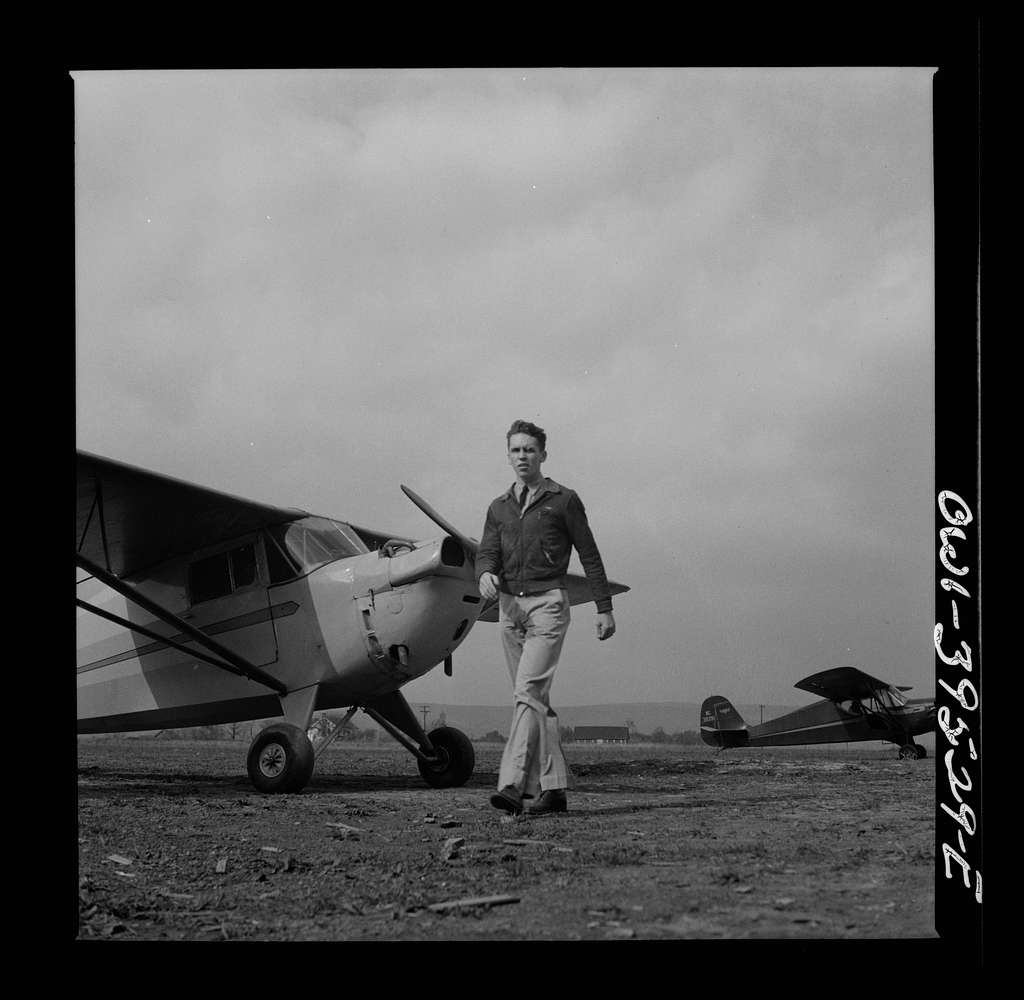 Frederick, Maryland. Walter Spangenberg, a student at Woodrow Wilson High School, takes flying lessons at the Stevens Airport