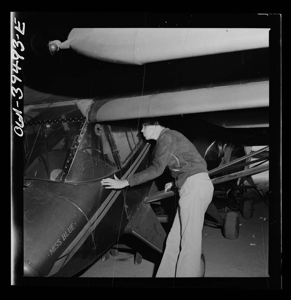 Frederick, Maryland. Walter Spangenberg, a student at Woodrow Wilson High School, inspecting one of the planes stored at the Stevens airport. Building model planes is one of his hobbies and he takes every chance to make a detailed inspection of any type of aircraft