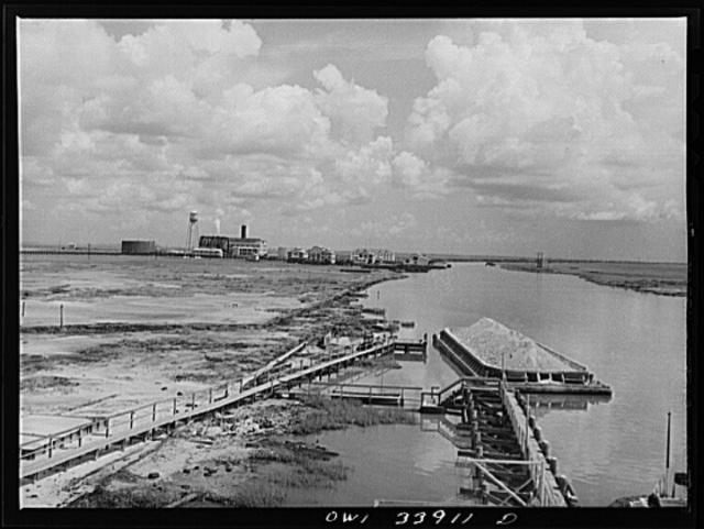 Freeport Sulphur Company, Grand Ecaille, Louisiana. Sulphur mine, powerhouse, machine shops and offices