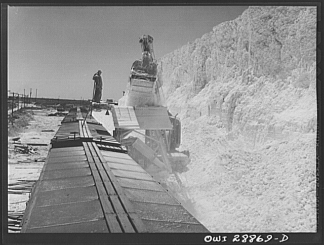 Freeport Sulphur Company, Hoskins Mound, Texas. Loading boxcars with sulphur