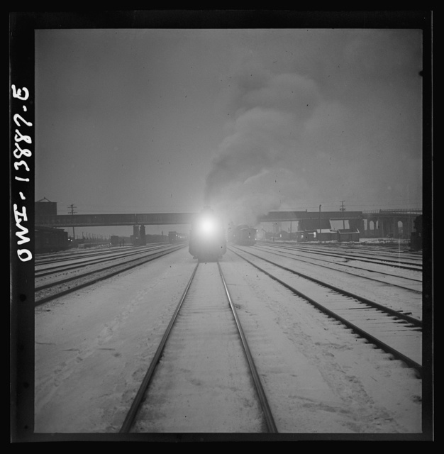 Freight operations on the Indiana Harbor Belt railroad between Chicago, Illinois and Hammond, Indiana. At 8:45 p.m. the train arrives at its destination