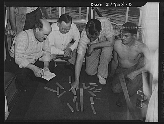 Gallipolis, Ohio. Making up the arrangement of tow aboard the Ernest T. Weir, a towboat