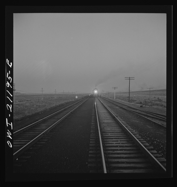 Gallup, New Mexico. A train on the Atchison, Topeka and Santa Fe Railroad between Belen and Gallup, New Mexico
