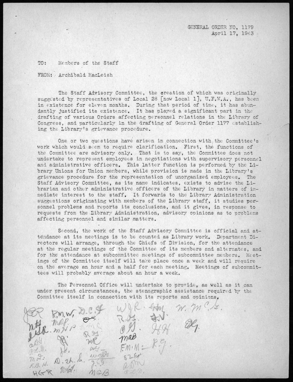 General Order No. 1179, Library of Congress, April 17, 1943
