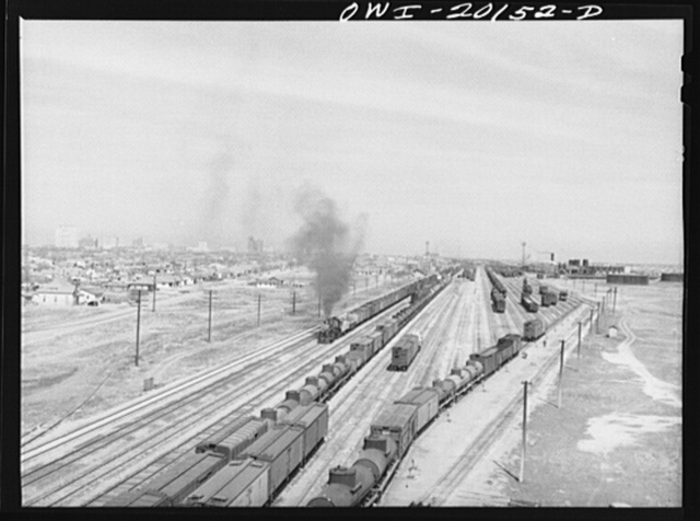 General view of the city and an Atchison, Topeka and Santa Fe Railroad yard