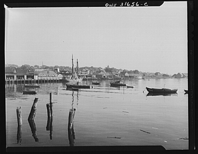 Gloucester fishing wharfs in the late evening. Gloucester, Massachusetts