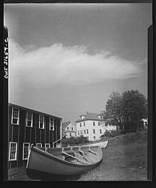 Gloucester, Massachusetts. Boats in a New England fisherman's yard