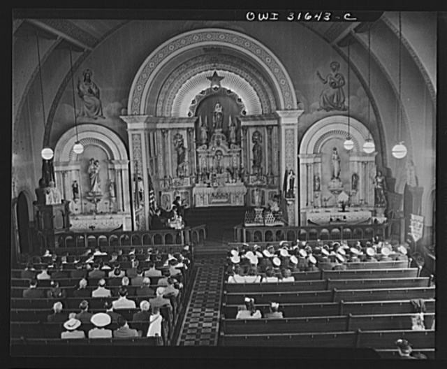 Gloucester, Massachusetts. Celebration of the fiesta of Pentacost in the Church of Our Lady of Good Voyage