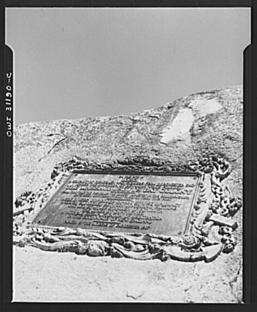 Gloucester, Massachusetts. Inscription on a rock telling of the founding of the Massachusetts Bay colony