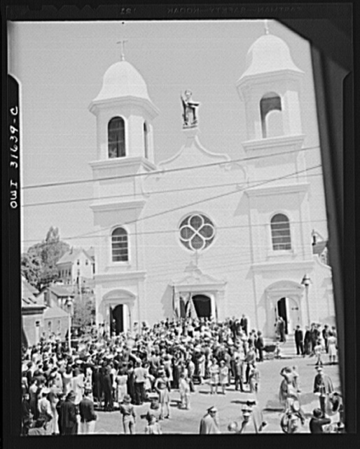 Gloucester, Massachusetts. The fiesta of Pentacost, celebrated before the Church of Our Lady of Good Voyage