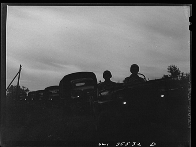 Greenville, South Carolina. Air Service Command. A quartermaster truck company of the 25th service group on a practice blackout convoy