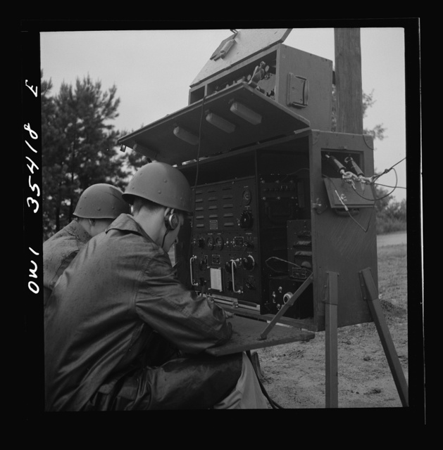 Greenville, South Carolina. Air Service Command. Men of the 1067th signal company of the 25th service group operating a field radio