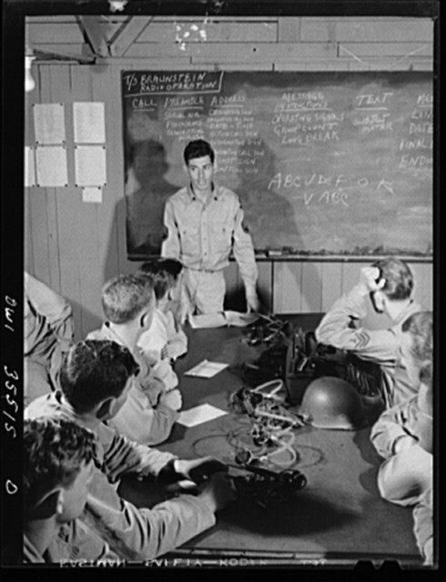 Greenville, South Carolina. Air Service Command. Men of the the 1067th signal company of the 25th service group, attending a class in the procedure for sending messages