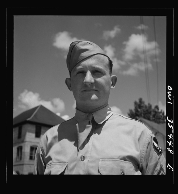 Greenville, South Carolina. Air Service Command. Sergeant John Riley of the 25th service group. His home is in Bowman, South Carolina